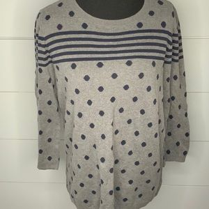 Ann Taylor gray polka doted and striped sweater